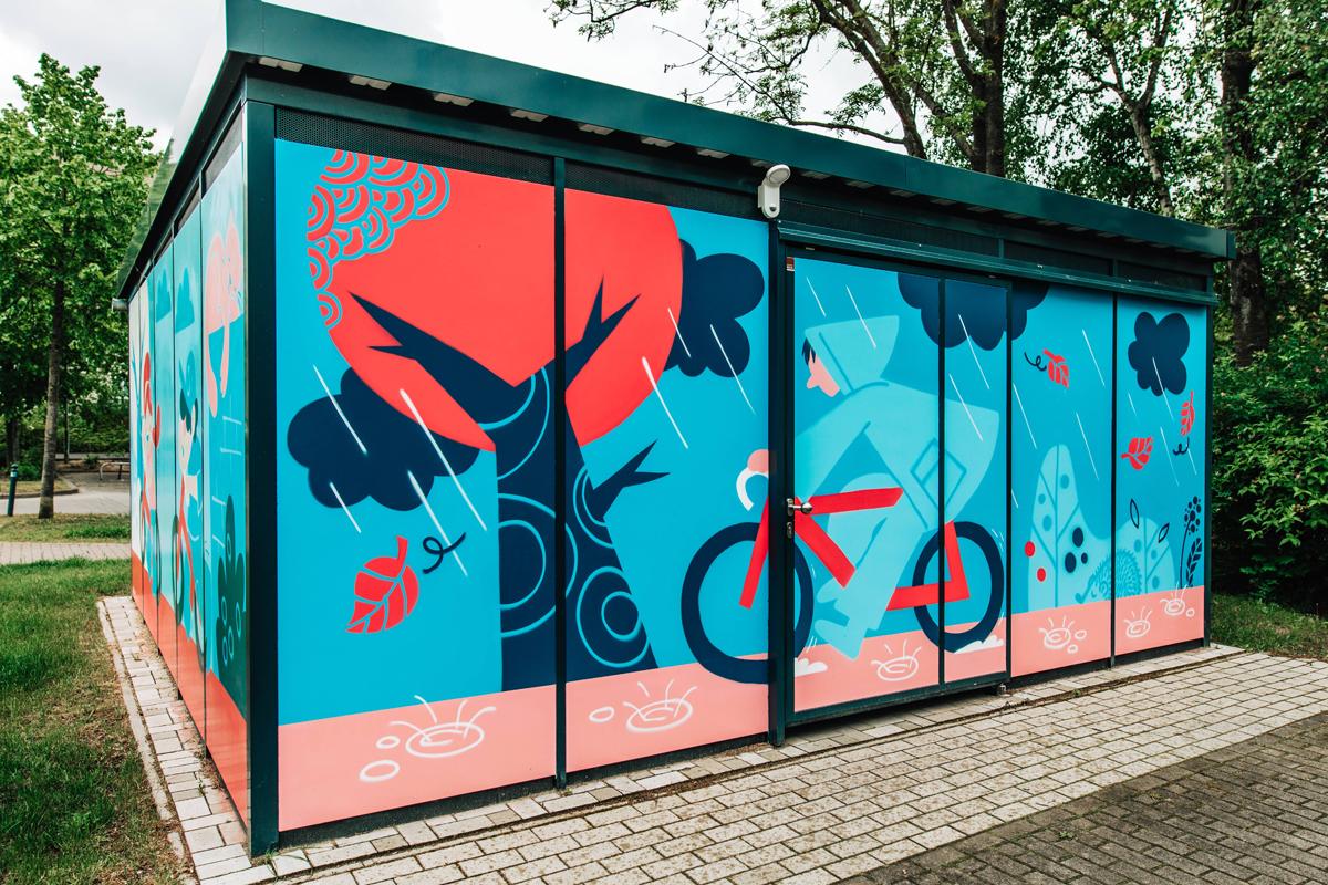 Farbenfrohe Fahrradhäuser